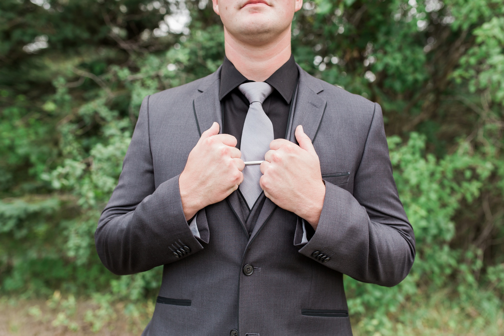 Grey Suit, Outdoor Wedding