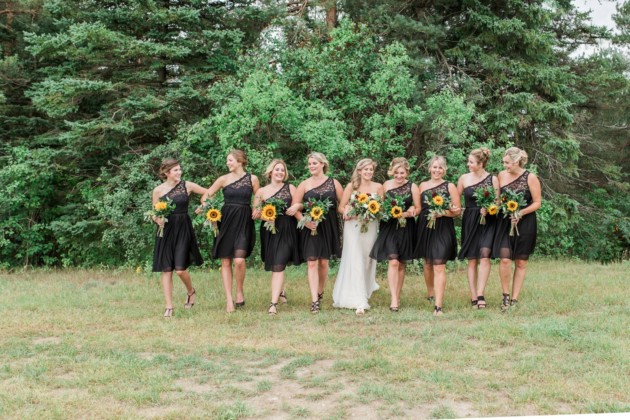 Black Bridesmaid Dress, Sunflower Bouquet