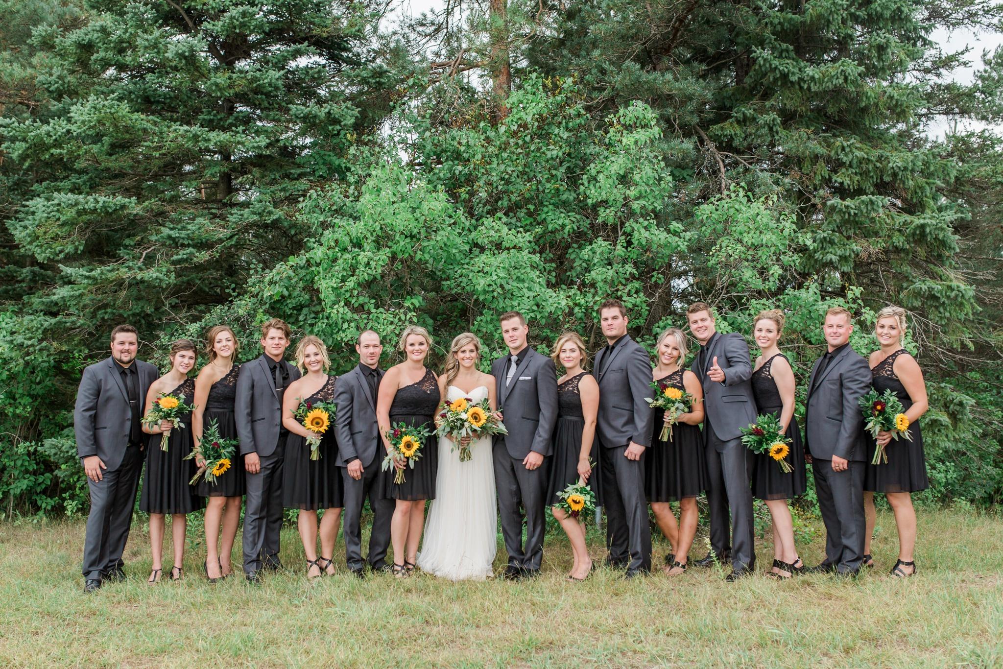 Sunflower Bouquet, Black Bridesmaid Dress